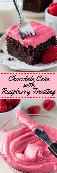 This chocolate cake with raspberry frosting is perfect for Valentine's Day. The soft, moist & super fudgy chocolate cake is to die for (Chocolate Frosting For Cupcakes) Raspberry Frosting, Chocolate Raspberry Cake, Chocolate Flavors, Chocolate Desserts, Cake Chocolate, Chocolate Frosting, Frosting Recipes, Cupcake Recipes, Cupcake Cakes