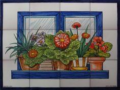 Mural de azulejos pintado a mano balcón macetas flores