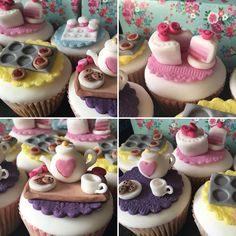Having afternoon tea? Celebrating a female birthday or Mother's Day? Try making these cupcake toppers. Teapot, cups, saucers, cake - all handmade & edible