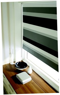 Our City Life Roller blind has monochrome style nailed. It's perfect for a bedroom, with the black a. Skylight Blinds, Fabric Blinds, Curtains, Blackout Blinds, Fabric Boxes, Monochrome Fashion, Stair Treads, Subtle Textures, Roller Blinds