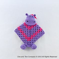Hippo lovey security blanket