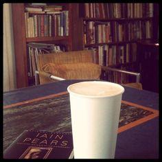 Coffee at Cafe Luna Longmont.  #coffee #latte #books