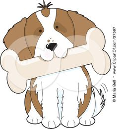 Clipart Illustration of a Cute Cavalier King Charles Spaniel Puppy Dog Tilting His Head And Biting A Bone by Maria Bell