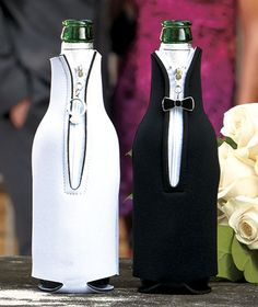 bride and groom his and hers Wedding Bottle Covers