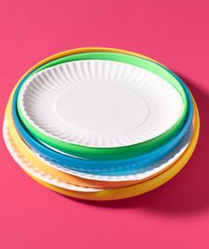 For summer BBQ party...put frisbees under paper plates to make more sturdy...then guests have a little present to play with after dinner!