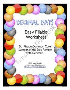 math worksheet : math worksheets worksheets and math practice worksheets on pinterest : Decimal Of The Day Worksheet