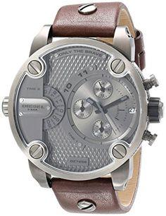Diesel Mens DZ7258 Little Daddy Gunmetal Brown Leather Watch