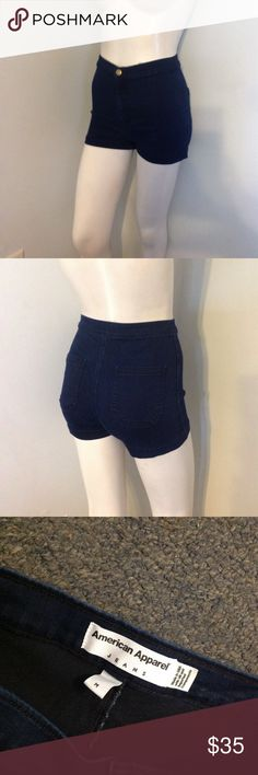 "American Apparel Stretch High Waist Jean Shorts M Nice pair of American Apparel Jean shorts. Dark Wash Indigo super stretchy. Marked size Medium. Might run small. My mannequin is a size Small. Waist 25"" Rise 10 1/2"" Inseam 1 1/4"" American Apparel Shorts Jean Shorts"