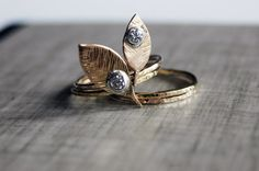 14K Gold LumberJack  & Jill stackable ring set  by NestedYellow
