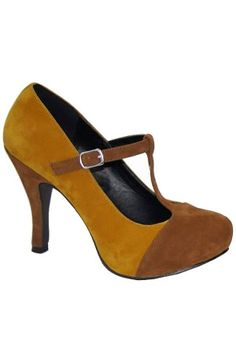 retro styled t strap pump in mustard. yes please