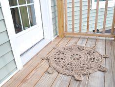 Twisted Thread And Hook | Steering Wheel Door Mat - Nautical Rope Mat - Crocheted With Jute Rope | Online Store Powered by Storenvy