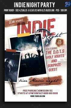 Indie Night Party Flyer Template PSD