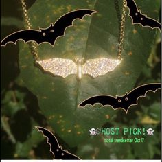 """ARGENTO VIVA Gold pavé bat necklace ⭐️ARGENTO VIVARsuper blingy little bat⭐️I've photographed it in different lights so you can see how eye catching it is⭐️special little piece⭐️lobster clasp⭐️18"""" chain with extender⭐️1.5"""" charm length⭐️gold plated brass⭐️CZ pavé⭐️Brand new! 🛑REASONABLE Offers welcome Jewelry Necklaces"""
