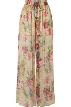Zimmermann - Melody Floral-print Silk-crepon Wide-leg Pants - Beige