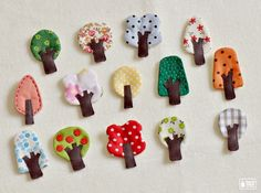 Little tree brooches made from fabric, felt and leather.They are my original design. Cut and sew with love.They are different sizes, not larger than cm wide x 6 cm high. Fabric Brooch, Felt Brooch, Felt Fabric, Fabric Scraps, Fabric Tree, Felt Crafts, Diy And Crafts, Arts And Crafts, Textile Jewelry