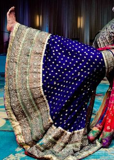 #Gorgeous Blue & Gold Bridal #Lehenga ~