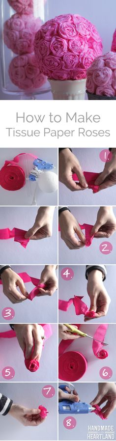A fun and simple home decor DIY for Valentines Day, how to make tissue paper roses. These roses are made from an inexpensive roll of crepe paper streamers! Click through for all the instructions.