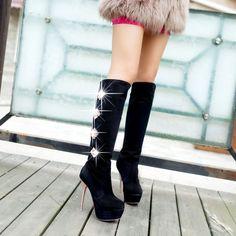 Rhinestone Knight Knee Boots