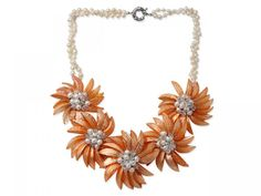 White Freshwater Pearl and Clear Crystal and Orange Yellow Color Shell Flower Necklace is inches and mm. You can get this beautiful necklace only with Shell Jewelry, Shell Necklaces, Pearl Jewelry, Handmade Necklaces, Handmade Jewelry, White Freshwater Pearl, Flower Necklace, Orange Yellow