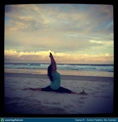 "Yoga Poses Around the World: ""Hanumanasana - at your service pose!, at Surfers Paradise, Qld, Australia"""