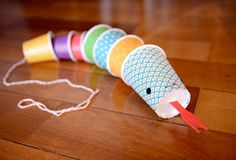 Paper cups snake in Ideas for kids' crafts