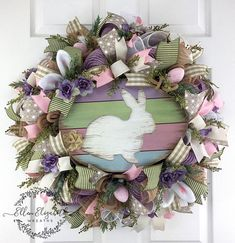 Easter Mesh Wreath / Rabbit Wreath / Bunny Wreath / Easter Bunny Wreath / Spring Mesh Wreath / Easter Wreaths for Front Door / Easter Wreath A lovely bunny wreath surrounded by soft colors can adorn your door for Easter and all the way thru spring. The bunny wreath is made on a