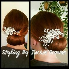 Bridal chignon upstyle low bun red hair pearl diamonte comb Bridesmaids