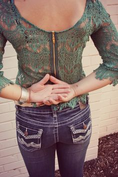 Love this shirt! Green lace
