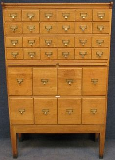 Antique 30 Drawer Oak Library Card File Cabinet -2 Pull-out ...