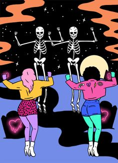 Have you been practicing your skeleton dance? It's that time of year. Exclusive art by Tumblr Creatr @robineisenberg.