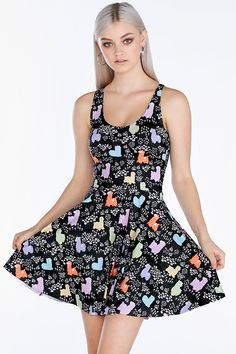 Llamacorn Reversible Skater Dress- 7 Day Unlimited (A$85) by BlackMilk Clothing - LET THEM EAT CAKE Collection
