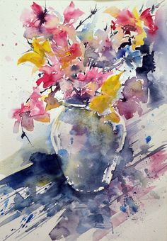 ARTFINDER: Still life with flowers by Kovács Anna Brigitta - Original watercolour painting on high quality watercolour paper. I love landscapes, still life, nature and wildlife, lights and shadows, colorful sight. Thes...