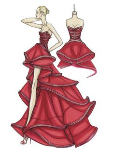 Atelier Versace Spring 2009  China red silk organza ballgown Pleated bands define the shape of the bustier and form the edges of each ruffle on the skirt