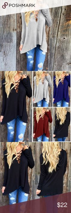 Lace up deep V-neck long sleeve Comes in blue, black, burgundy and grey! S-XXL...comment which one you'd like..will make a new listing Tops Tees - Long Sleeve