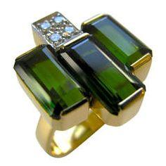 Andrew Grima Tourmaline Diamond Gold Ring