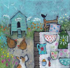 'Breakfast in the Garden' Fine Art Card by Julia Crossland
