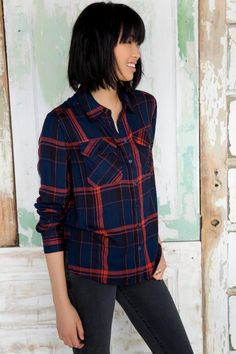 Townsend Plaid Buttoned Blouse
