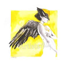 Original and unique watercolor on paper art of Shayera Egyptian deity of the eagle woman - The Artists Alley Artist Alley, Deities, Eagles, Egyptian, Paper Art, Fan Art, Unique, Watercolor, Cartoon