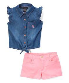 Neon Light Pink Angel-Sleeve Top & Shorts - Infant Toddler & Girls