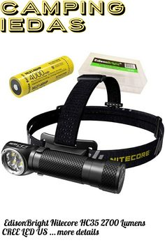 (This is an affiliate pin) EdisonBright Nitecore HC35 2700 Lumens CREE LED USB Rechargeable headlamp and 4000mAh Li-ion Long Duration Battery Battery Carry case Bundle Camping Lights, Carry On, Usb, Hand Luggage, Carry On Luggage