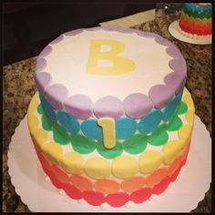 Rainbow cake inside and out!