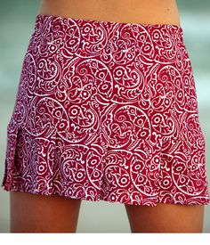 Raspberry Pleated Tennis Skirt with Built In Compression Shorts