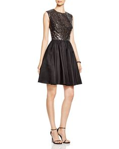 Vera Wang Beaded Bodice Fit and Flare Dress | Bloomingdale's
