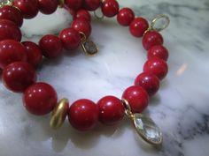 Perlenarmbänder - Mode Armband Perle Koralle Edelstein Armreif Charm - ein Designerstück von TOMKJustbe bei DaWanda