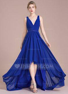 9e464428fb3 ... Beading Sequins Zipper Up Regular Straps Sleeveless No Royal Blue  Spring Summer Fall Winter General Plus Chiffon US 2 & UK 6 & EU 32 Bridesmaid  Dress
