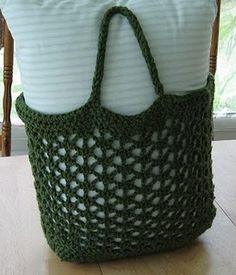 Crochet green grocery bag
