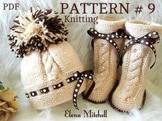Knitting PATTERN Baby Set Babies Newborn Infant Baby Shoes