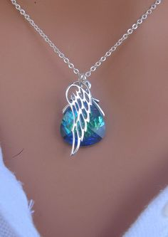 LOVE SALE Angel Wing with Peacock Swarovski Crystal necklace in STERLING Silver - on top