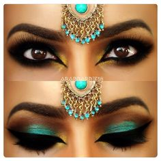 Teal Arabic Makeup by This eye makeup uses dark and teal eye shadow, accentuated by heavy black liner and false eyelashes. Try this gorgeous exotic look today. See the product list here Teal Eye Makeup, Exotic Makeup, Indian Makeup, Love Makeup, Makeup Looks, Hair Makeup, Eyebrow Makeup, Dramatic Makeup, Crazy Makeup