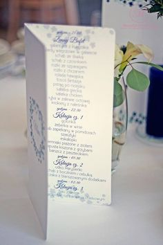 #white #blue #menu #wedding #day #paper #decorations #elegant #style #stationery #bride #groom #wesele #ślub #elegancki #styl #biel #niebieski #papeteria #pannamłoda #panmłody